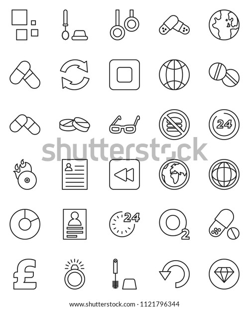 thin line vector icon set - toilet brush vector, glasses, world, personal information, pie graph, pound, pills, no fastfood, gymnast rings, oxygen, earth, music hit, stop button, backward, refresh