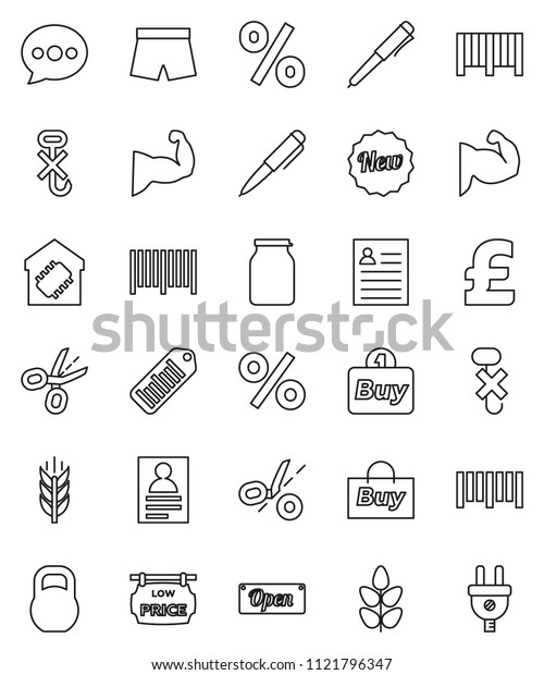 thin line vector icon set - jar vector, pen, personal information, pound, muscule hand, shorts, cereals, no hook, weight, barcode, message, low price signboard, smart home, new, open, percent, buy
