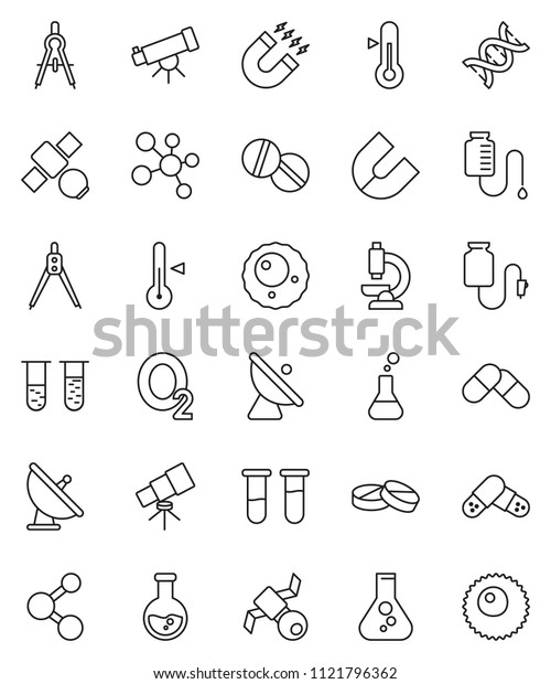 thin line vector icon set - thermometer vector, drawing compass, telescope, magnet, flask, molecule, oxygen, satellite, antenna, vial, dna, pills, microscope, drop counter, ovule