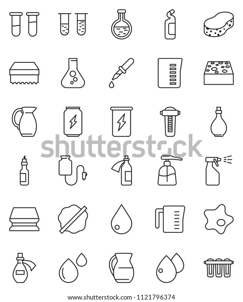 thin line vector icon set - sponge vector, water drop, splotch, liquid soap, sprayer, cleaning agent, oil, measuring cup, jug, flask, enegry drink, vial, dropper, blood, potion, counter, filter