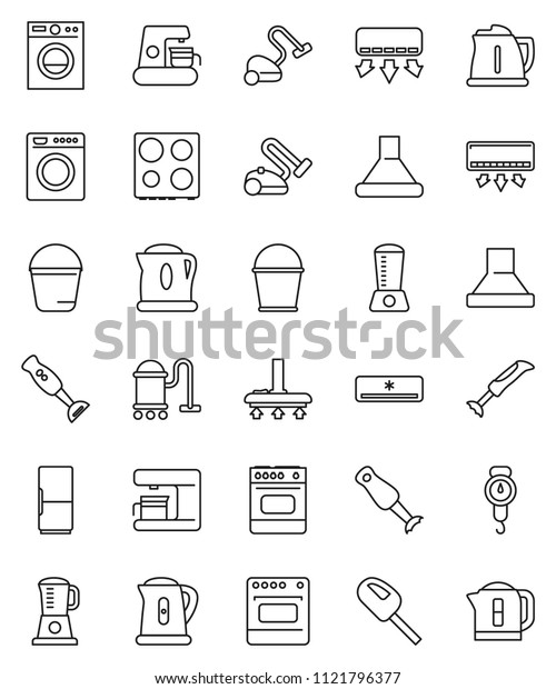 thin line vector icon set - vacuum cleaner vector, bucket, kettle, scales, oven, blender, air conditioner, fridge, washer, coffee maker, hood