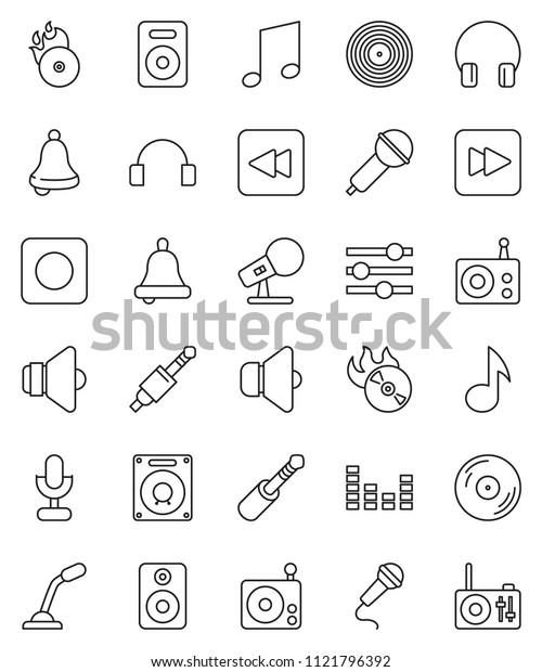 thin line vector icon set - bell vector, music, disk, hit, microphone, radio, speaker, equalizer, headphones, forward button, backward, rec, jack