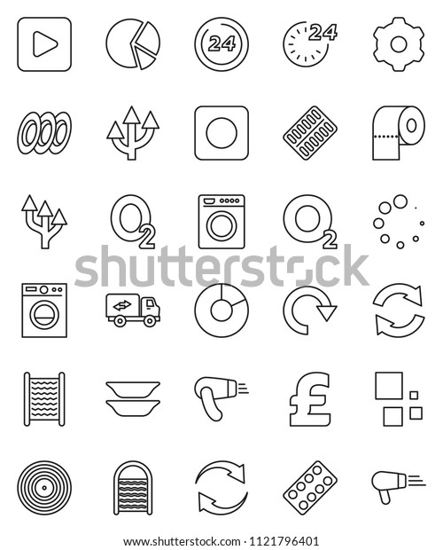 thin line vector icon set - washboard vector, toilet paper, plates, pie graph, pound, oxygen, disk, play button, rec, pills blister, gear, refresh, redo, loading, route arrow, relocation truck