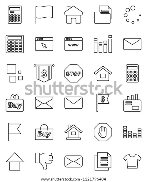 thin line vector icon set - calculator vector, flag, arrow up, dollar, document, equalizer, finger down, mail, browser, home, loading, stop, house, buy, clothes