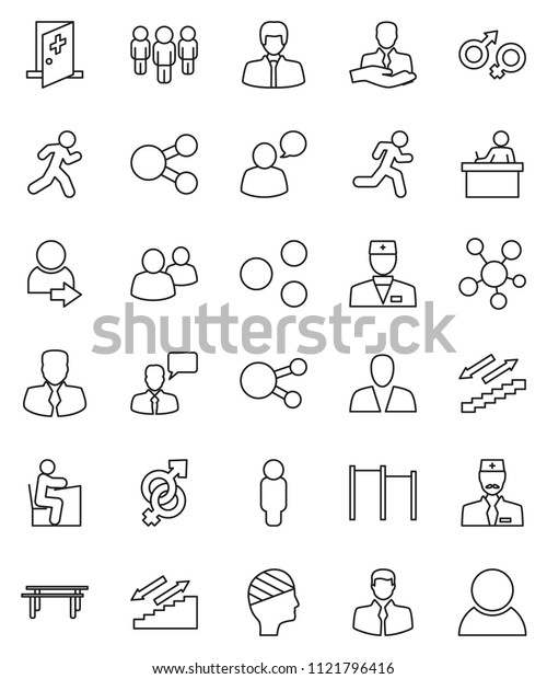 thin line vector icon set - student vector, manager, man, horizontal bar, stairways run, client, speaking, social media, group, doctor, gender sign, head bandage, medical room, share, login