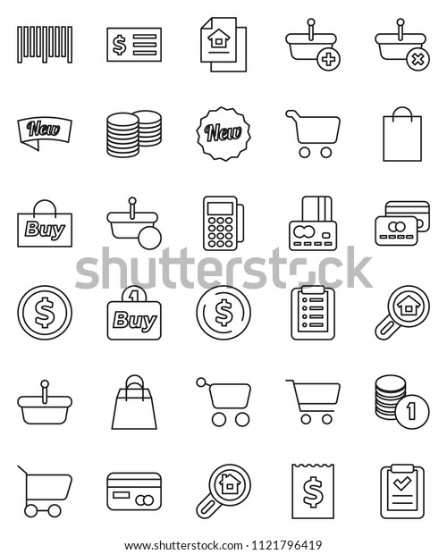 thin line vector icon set - dollar coin vector, cart, credit card, stack, receipt, estate document, search, new, shopping bag, buy, barcode, reader, basket, list