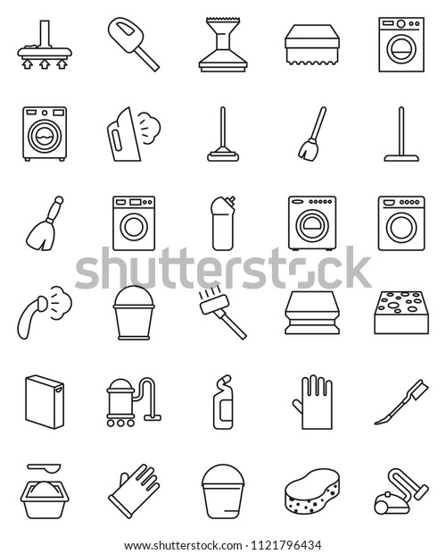 thin line vector icon set - broom vector, vacuum cleaner, mop, bucket, sponge, car fetlock, steaming, washer, washing powder, cleaning agent, rubber glove