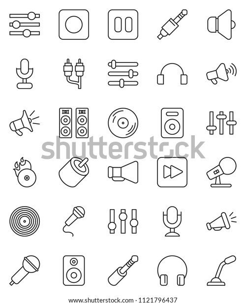 thin line vector icon set - disk vector, music hit, microphone, speaker, loudspeaker, settings, headphones, pause button, forward, rec, rca, jack, equalizer