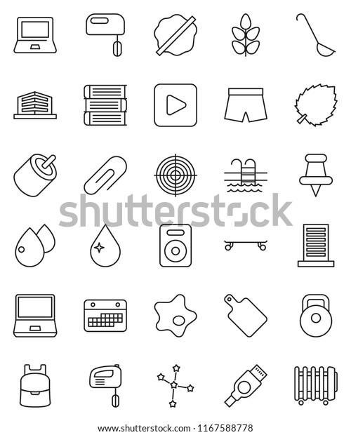 thin line vector icon set - water drop vector, splotch, ladle, cutting board, book, backpack, notebook pc, leaf, constellation, weight, shorts, skateboard, target, cereals, pool, calendar, speaker