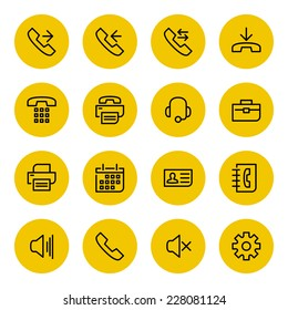 Thin line vector icons set for web site and mobile apps design black and yellow colors flat style. Objects and symbols: telephone, fax, gear, support, technology, call