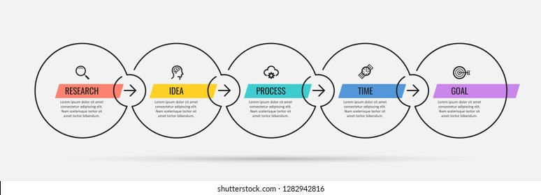 Thin line vector Infographic design template with icons and 5 options or steps.  Can be used for process diagram, presentations, workflow layout, banner, flow chart, info graph.