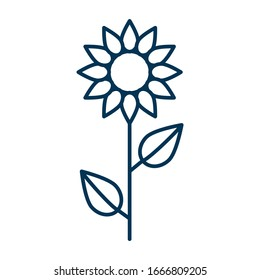 Thin line vector outline icon of a sunflower flower with two leaves slenderly standing on a white background isolated with editable stroke