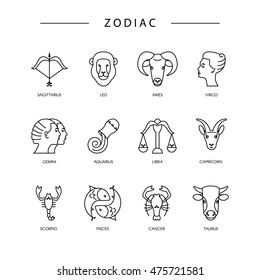Thin line vector zodiacal symbols. Astrology, horoscope sign, graphic design elements, printing template. Zodiac Signs  isolated on background.