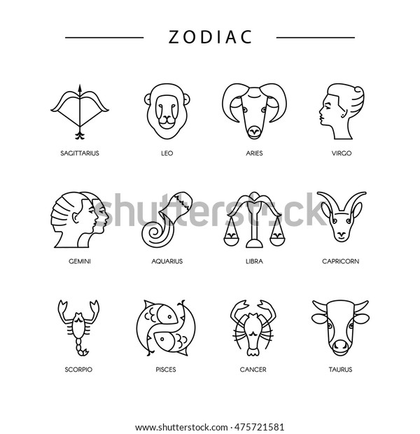 Thin Line Vector Zodiacal Symbols Astrology Stock Vector