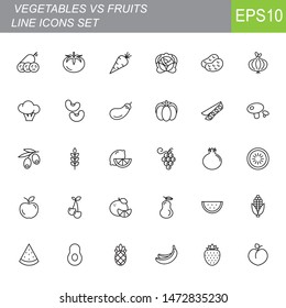 Thin line vegetables and fruit icons set on white background. Vector illustration eps10.
