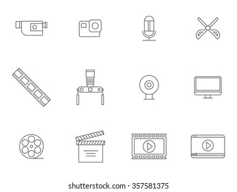 thin line video production and film edit icons. vector