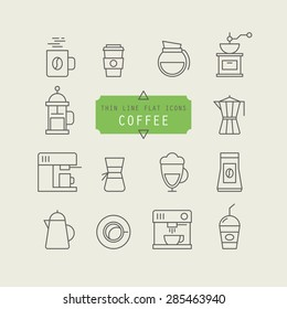 Thin line web icons for coffee