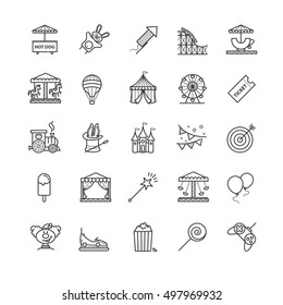 Thin line web icons set - amusement park for your design