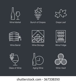 Thin line wine icons set on dark background. Web graphics simple mono outline symbol collection. Premium quality best modern linear stroke vector logo concept pictogram pack.