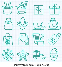 Thin line winter and Christmas time icons set for web design, applications and infographics