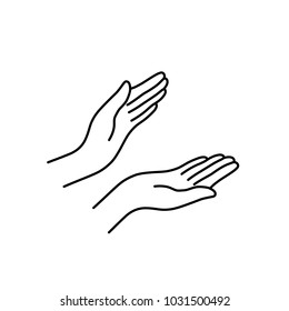 thin line woman hands like applause. concept of people body language like mercy or pray in ramadan. simple contour style sign islam dua logotype stroke graphic art design isolated on white background