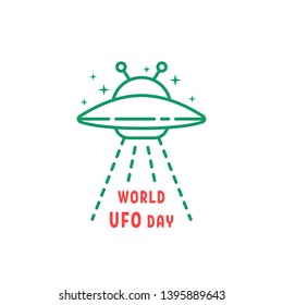 thin line world ufo day icon. concept of aliens visit the earth for research and unidentified flying object. flat color simple modern logotype graphic stroke art design isolated on white background