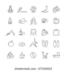 Thin line yoga icons set. health life for your design
