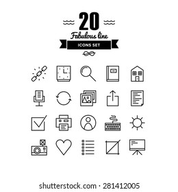 Thin lines icons set of basic web elements, user interface things, various office and management symbol, work presentation tools. Modern infographic outline vector design simple logo pictogram concept