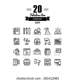 Thin lines icons set of business startup solution, company brand development, web workflow production tools, marketing services. Modern infographic outline vector design, simple logo pictogram concept