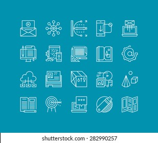 Thin lines icons set of marketing development process, product creating and promotion tools, website network optimization work. Modern infographic outline vector design, simple logo pictogram concept.
