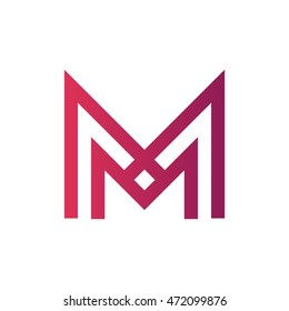 Thin lines letter M logo.