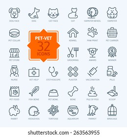 Thin lines web icon set - pet, vet, pet shop, types of pets