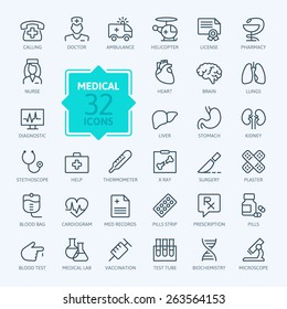 Thin lines web icon set - Medicine and Health symbols