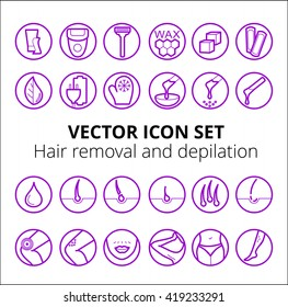 Thin lines web icon set -  epilation. Sugaring, waxing, photoepilation, hair removing. Allergy, skin irritation, pain icons. Depilation and epilation icon set
