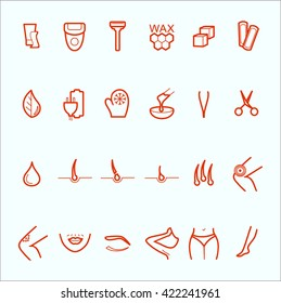 Thin lines web icon set. Sugaring, waxing, hair removing. Allergy, skin irritation, pain icons. Depilation and epilation. Depilatory area - legs, arms, mustache, eyebrows, bikini. Pain, allergenic.