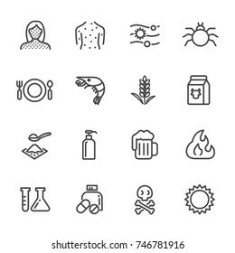 Thin lines web icon set. Causes Chronic Allergies and Allergy Symptoms & Treatment. Vector line icon
