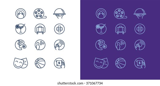 Thin lines web icons set - places of entertainment