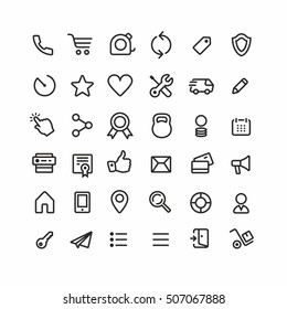 Thin lines web icons set, line icons, web icons