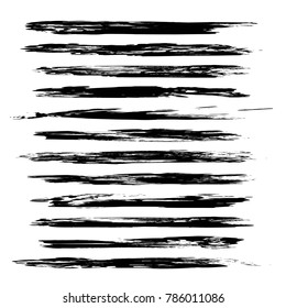 Thin long hand-drawn black brush strokes isolated on a white background