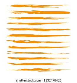 Thin long textured orange abstract smears set isolated on a white background