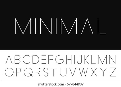 Thin minimalistic font. Elegant english alphabet.