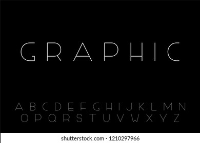 Thin minimalistic font. English alphabet, creative latin letters