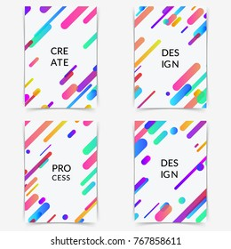 Thin modern trendy colorful halftone gradient neon line poster. Bright shapes layout folder collection. Abstract geometric pattern background for cover design. Vector illustration