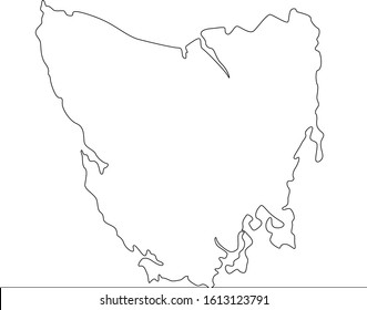 Thin one continuous line illustration drawing Tasmania Map Outline Border