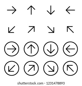 Thin outline black arrow icons vector set