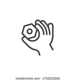 Thin Outline Icon Hand and Nut. Such Line sign as Fine Motor Skills, Preschool Learning, Educational Games. Vector Computer Custom Isolated Pictograms EPS, for Web on White Background Editable Stroke.
