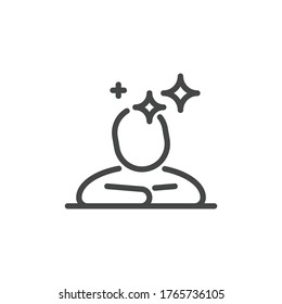 Thin Outline Icon Human and Mind. Such Line sign as Logical Thinking, Think Process, Phantasy or Imagination. Vector Computer Isolated Pictograms for Web and App on White Background Editable Stroke.