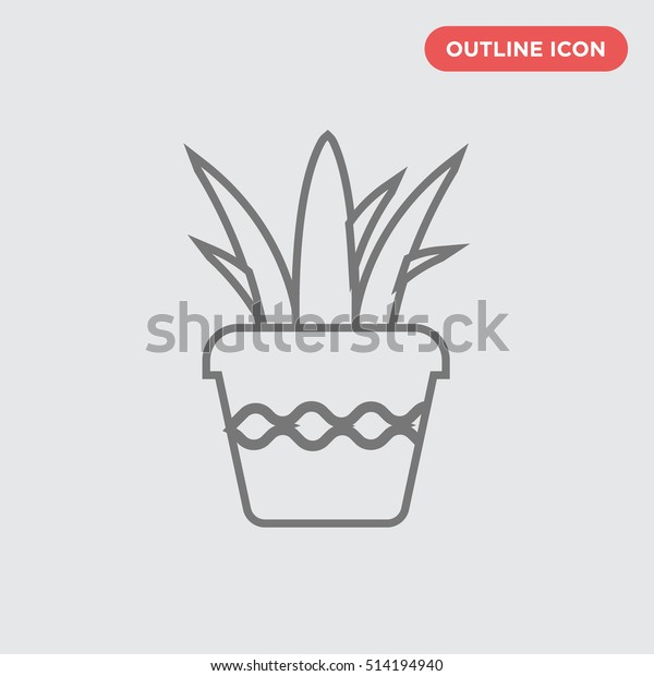 Thin outline of slim flower pot vector icon flora isolated  sc 1 st  Shutterstock & Thin Outline Slim Flower Pot Vector Stock Vector (Royalty Free ...