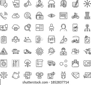 Thin outline vector icon set with dots - hr policies vector, services, Plumbing service, Repair, Laundry, Garden, Search optimization, Cost per click, Collaborative idea, Big data, AI Robot, worker