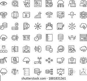 Thin outline vector icon set with dots - growth vector, hr manager, Web analytics, SEO monitoring, Marketing, Business Planning, Machine learning, Algorithm, Data mining, Computer Vision, Folder